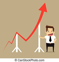 Concept of crisis problems with businessman that helps statistics