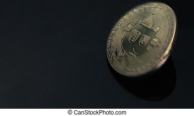 Concept Of Crypto Currency And Bitcoins. Close-up - Bitcoin...