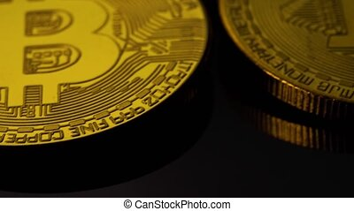 Concept Of Crypto Currency And Bitcoins. Close-up - Coins Of...