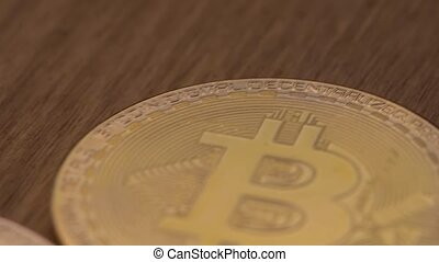 Concept Of Crypto Currency And Bitcoins. Close-up - Three...