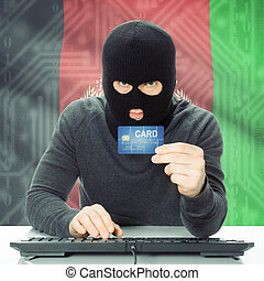 Concept of cybercrime with national flag on background - Afghanistan