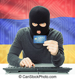 Concept of cybercrime with national flag on background - Armenia