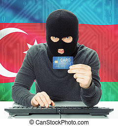 Concept of cybercrime with national flag on background - Azerbaijan