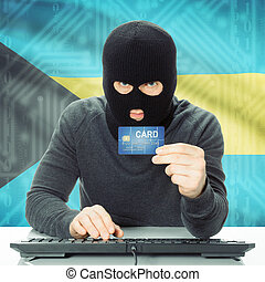 Concept of cybercrime with national flag on background - Bahamas