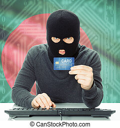 Concept of cybercrime with national flag on background - Bangladesh