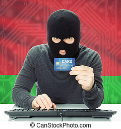 Concept of cybercrime with national flag on background - Belarus