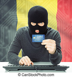 Concept of cybercrime with national flag on background - Belgium