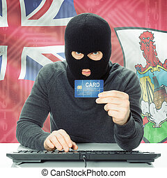 Concept of cybercrime with national flag on background - Bermuda