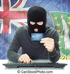 Concept of cybercrime with national flag on background - British Virgin Islands