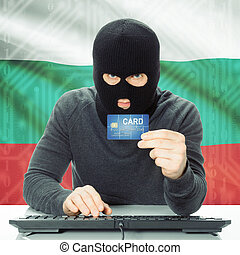 Concept of cybercrime with national flag on background - Bulgaria