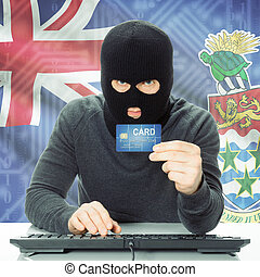 Concept of cybercrime with national flag on background - Cayman Islands
