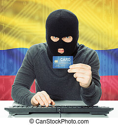 Concept of cybercrime with national flag on background - Colombia