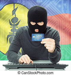 Concept of cybercrime with national flag on background - New Caledonia