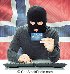 Concept of cybercrime with national flag on background - Norway