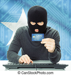 Concept of cybercrime with national flag on background - Somalia
