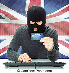 Concept of cybercrime with national flag on background - United Kingdom