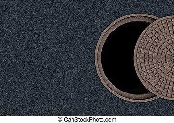 Concept of danger, safety cannot be half or partially. Not completely closed cover of a sewer manhole, top view.