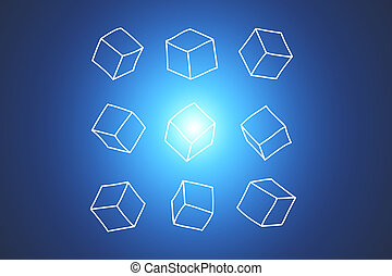 Concept of data cube isolated on background- Technology concept