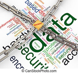 Concept of data security - Data protected by chain and...