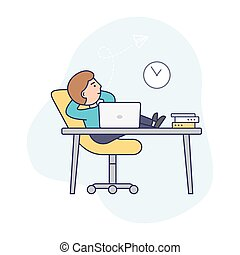 Concept of Deadline, Term and Time Waste. Procrastinating Businessman is Sitting At Workplace With Legs On Office Desk. Man Is Relaxing From Work In The Office. Outline Linear Flat Vector Illustration