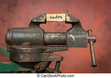 Concept of dealing with problem. Vice grip tool squeezing a plank with the word cadre