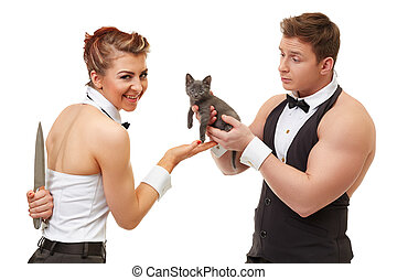 Trusting guy gives kitten to misleading girl - Concept of ...