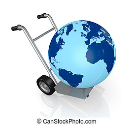 concept of deliver everywhere - closeup of a hand truck...