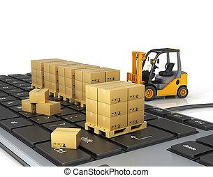 Concept of delivering, shipping or logistics. Forklift on...