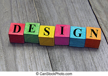 concept of design word on wooden cubes