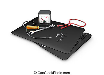 Concept of diagnostic and repair. Tools and laptop, 3d Illustration