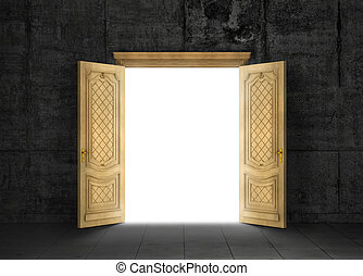 Concept of different dimension. White mysterious portal to ...