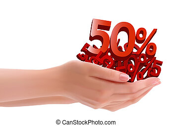 Concept of discount Hands holding sales Vector