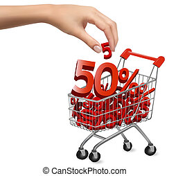 Concept of discount Shopping cart with sale Vector ...