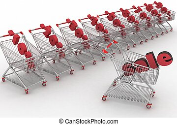 Concept of discount. Shopping carts full of percentage sale.