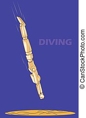 Concept of Diving with wooden human mannequin
