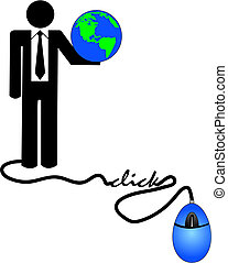 concept of doing e-business internationally - business man holding globe connected to computer mouse