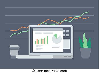 Concept of e-commerce - Digital analytics information tools....