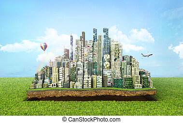 Concept of eco city. Modern city with skyscrapers on the patch of land on nature background. 3d illustration