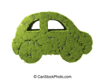 Green car with grass growing on it