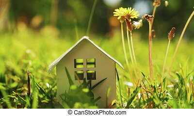Concept of eco home - House model on the lawn with...