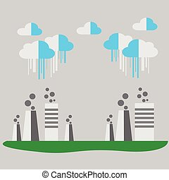 Concept of Eco with factory. Vector background illustration.