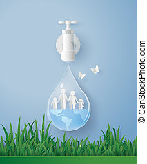 concept of ecology and world water day with family. Paper art and digital craft style.