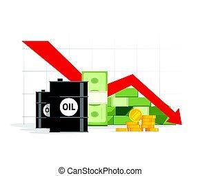Concept of economy crisis, low budget, price decrease, stock market financial data, negative income