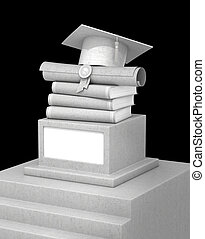 concept of education. A concrete pedestal with books, diplomas and graduate hats, and isolation on a black background. 3d illustration