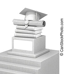 concept of education. A concrete pedestal with books, diplomas and graduate hats. 3d illustration