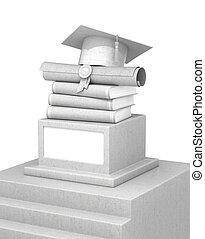 concept of education. A concrete pedestal with books, diplomas and graduate hats. 3d illustration