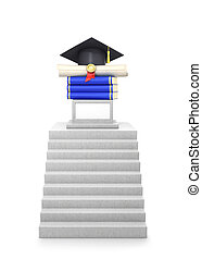 concept of education. Concrete steps leading to pedestal with books, diplomas and graduate hats. 3d illustration