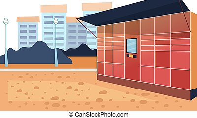 Concept Of Electronic Locker. Safe Possibility Of Pick up And Send Parcels By Self Service Post Terminal Machine Standing On the Street With Screen for Mock up. Cartoon Flat Style Vector Illustration
