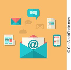 Illustration concept of email marketing - newsletter and subscription, flat trendy icons - vector