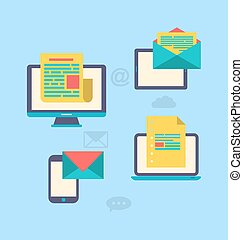 Concept of email marketing via electronic gadgets - newsletter and subscription, flat trendy icons